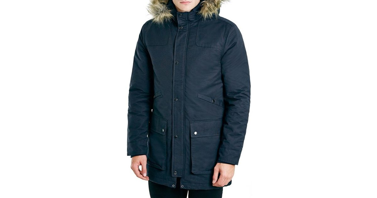 Topman Navy Heavyweight Fishtail Parka With Faux Fur Trimmed Hood ...