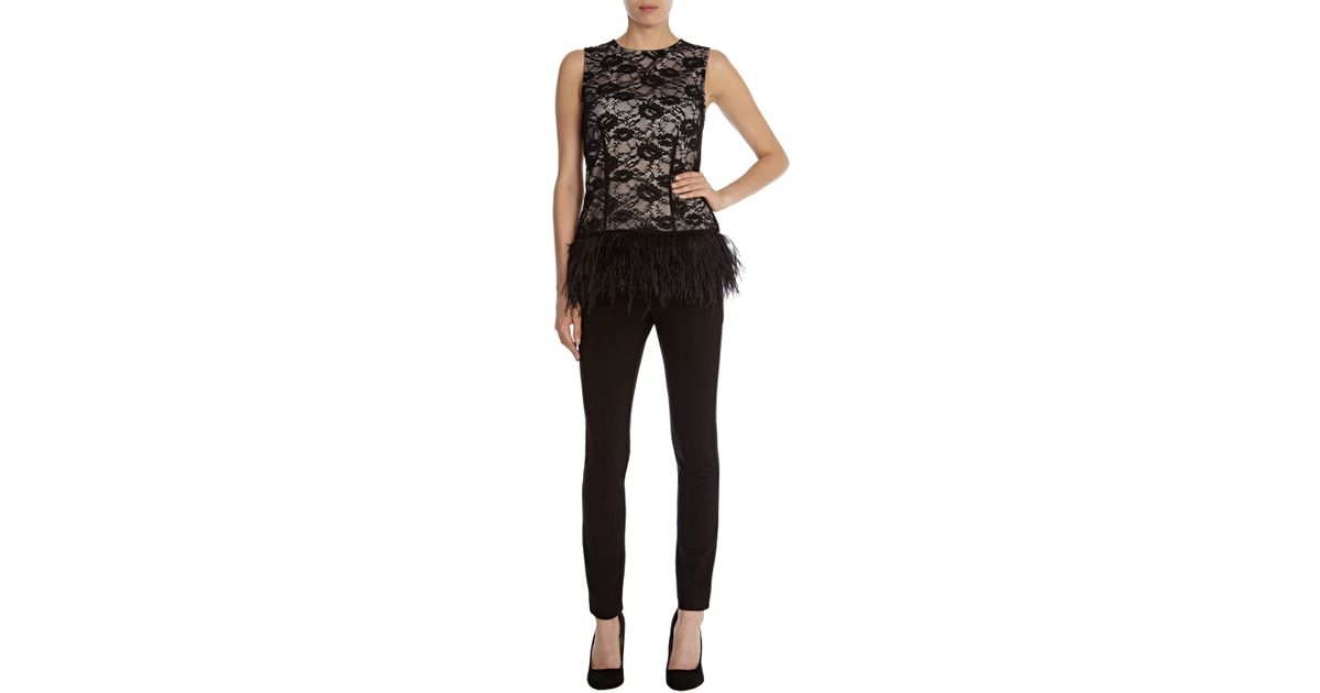 f36fc86474908a Coast Freya Feather Lace Top in Black - Lyst