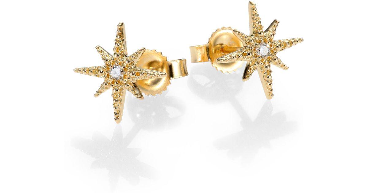 Lyst Mizuki Icicle Diamond 14k Yellow Gold Star Stud Earrings In Metallic