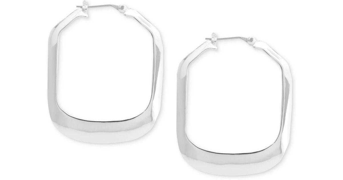 kenneth cole silver tone rectangle hoop earrings in silver