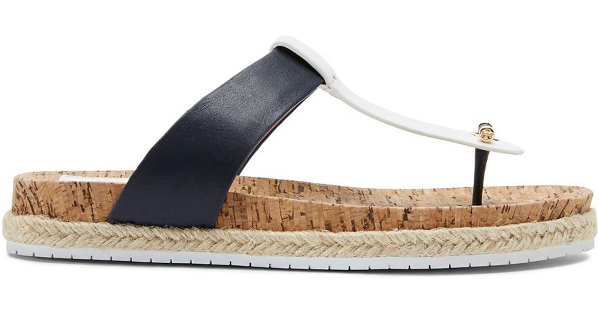 f8dc8b783 Lyst - Tory Burch Cork-Footbed Flat Thong Sandal in Blue