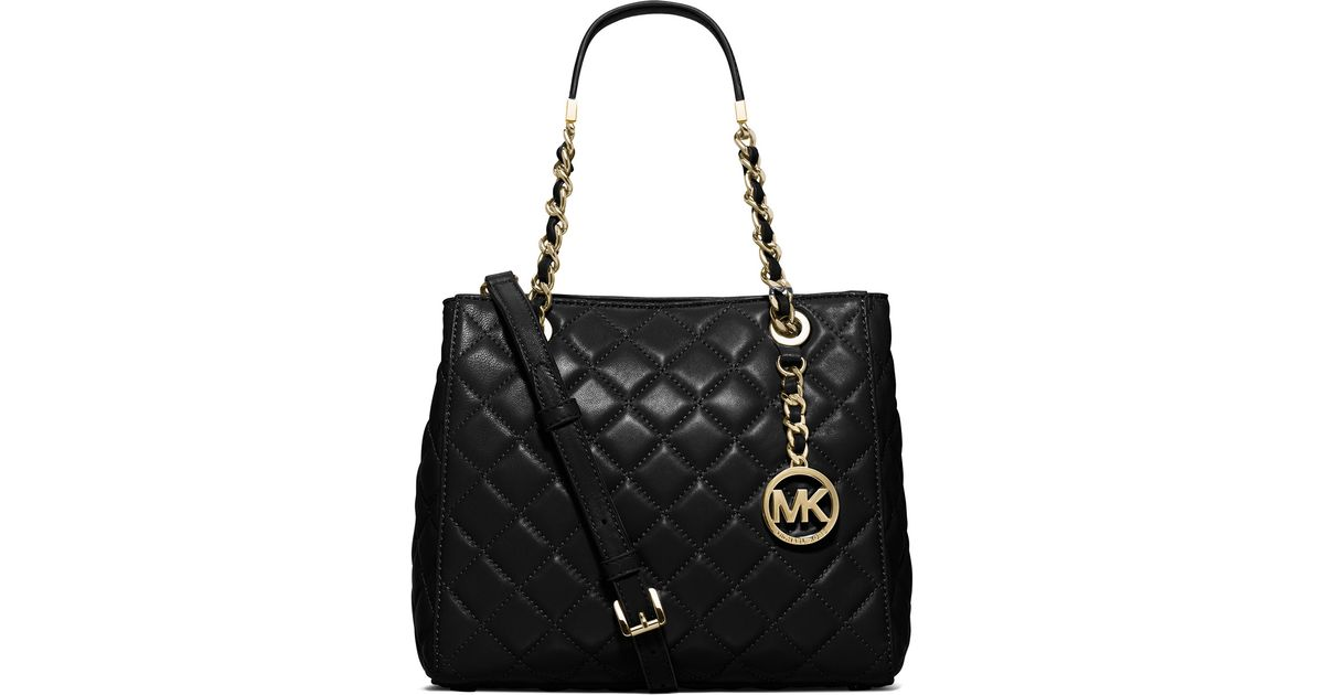 f7efa5247e2cc Lyst - MICHAEL Michael Kors Susannah Small Quilted Tote Bag in Black