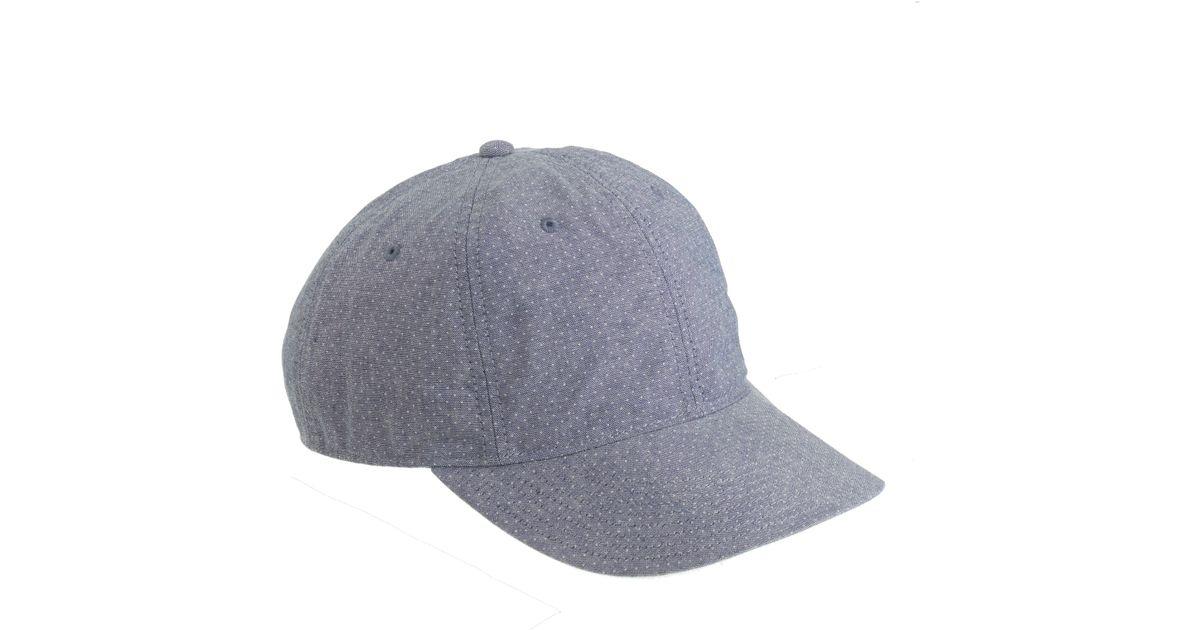 881e5e8cb3e7f Lyst - J.Crew Printed Dot Chambray Baseball Hat in Blue for Men
