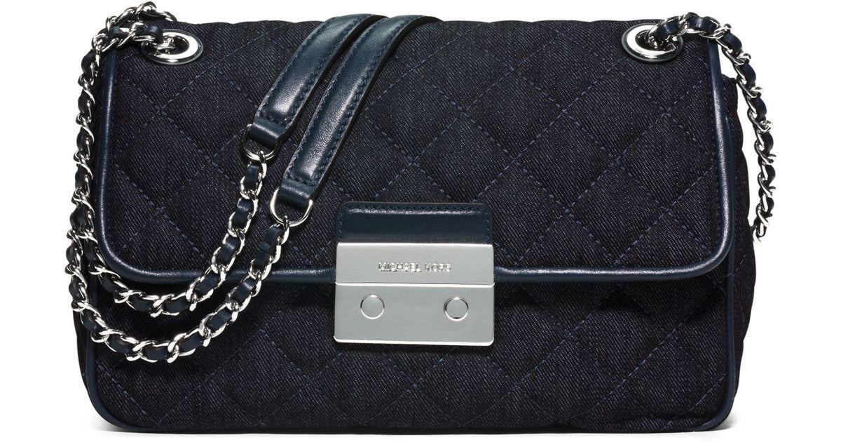 9fa6984f4501 Lyst Michael Kors Sloan Large Quilted Denim Shoulder Bag In Blue