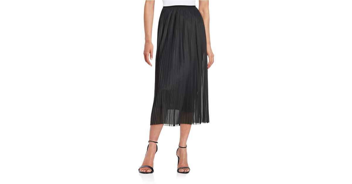 kensie pleated chiffon maxi skirt in black save 60 lyst