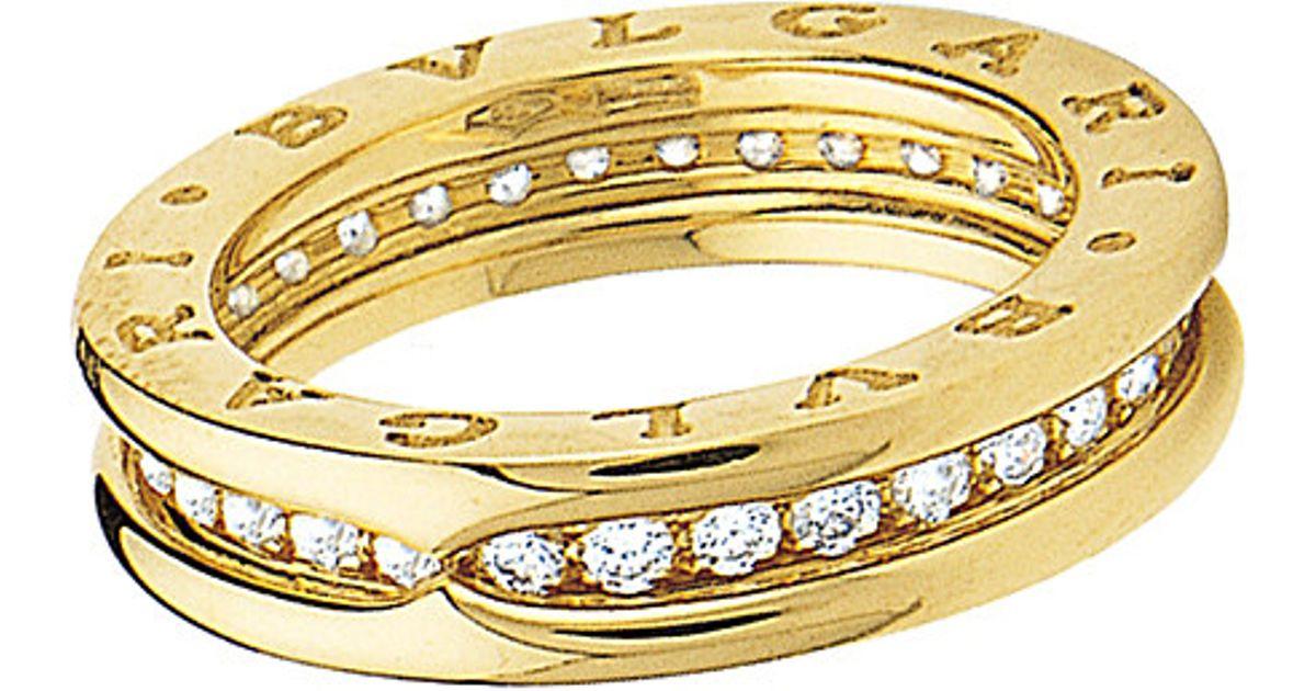 bvlgari bzero1 oneband 18ct yellowgold and diamond ring in metallic lyst