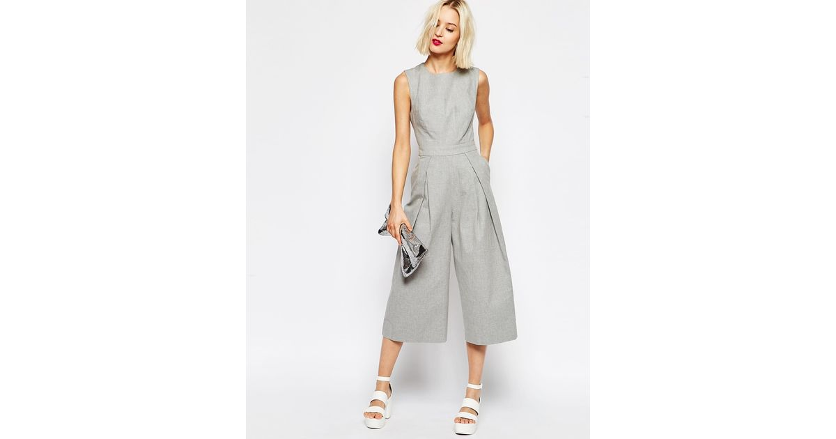 e38c0b350e Lyst - ASOS Awkward Length Jumpsuit With Cut Out Back in Gray