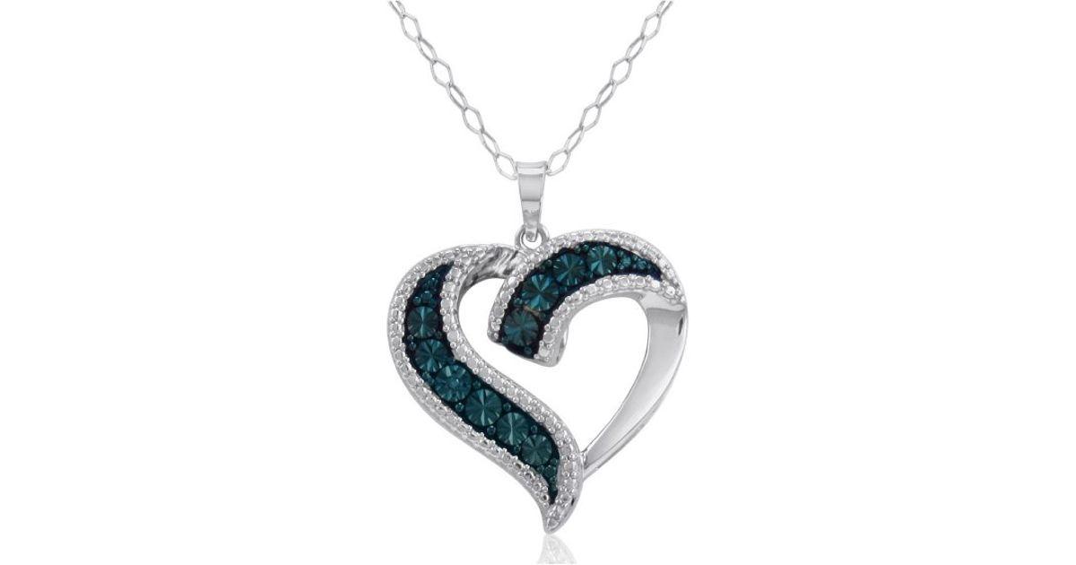Amanda rose collection Blue Diamond Heart Pendant-necklace ...