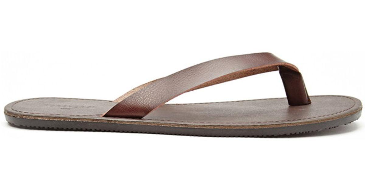 bd42ed937e27 Lyst - Forever 21 Mens Faux Leather Flip Flops in Brown for Men