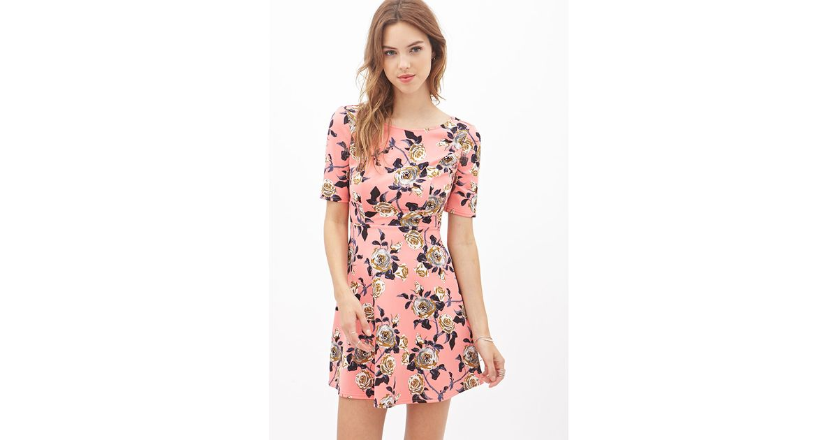 1466963111 Lyst - Forever 21 Rose Print Skater Dress in Pink