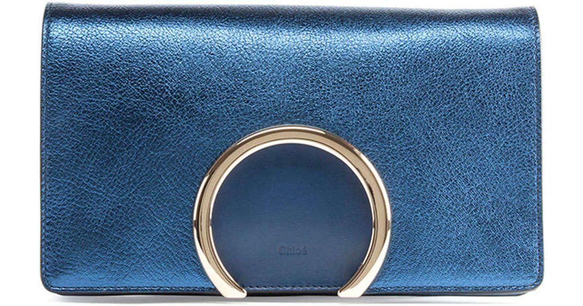 Chlo�� Gabrielle Metallic Clutch Bag in Blue | Lyst