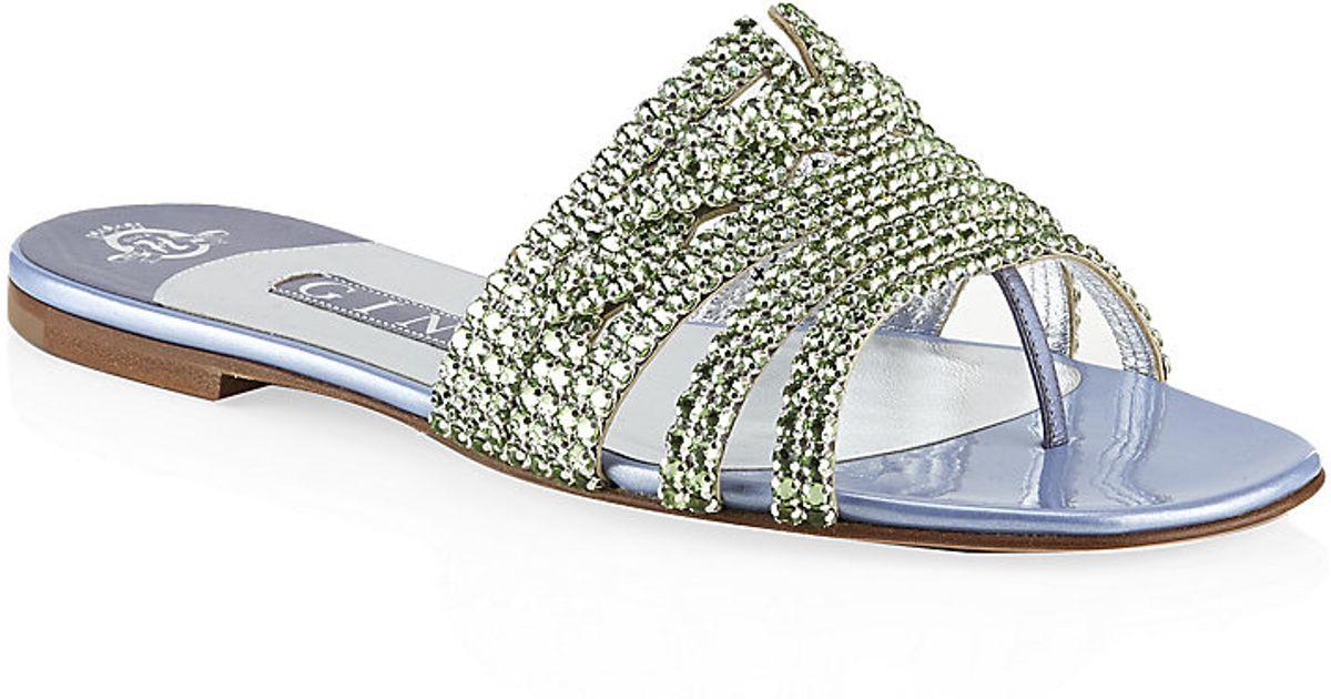 6faa5b104 Gina Loren Jewelled Sandal in Metallic - Lyst