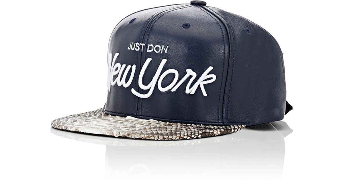 Lyst - Just Don Men s Leather   Python Baseball Cap in Blue for Men ffd85061de0e
