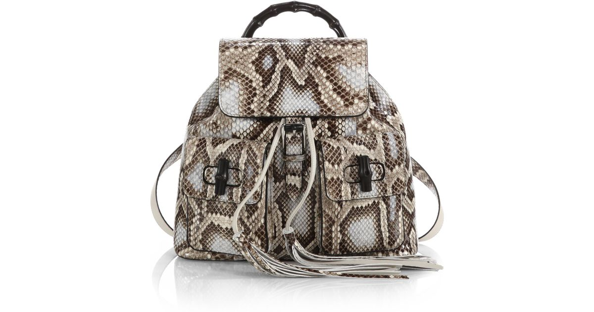 5ee9c1ef3b5c Lyst - Gucci Bamboo Sac Python Backpack
