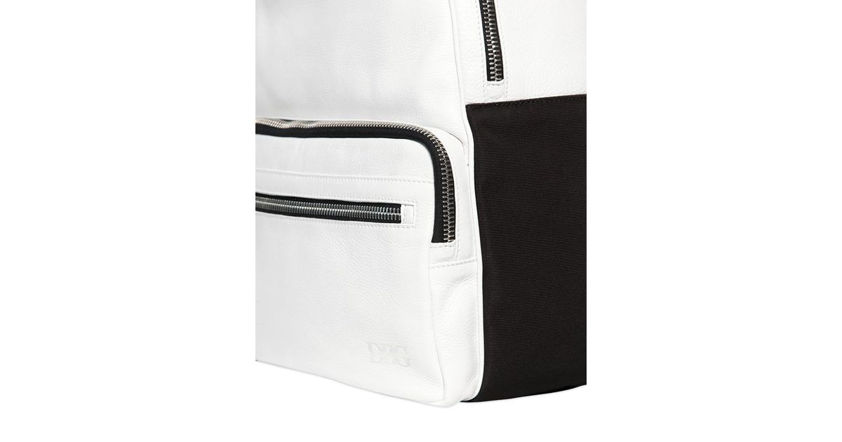 b0fda37aca9d Lyst - Diesel Black Gold Grained Leather Backpack in White for Men