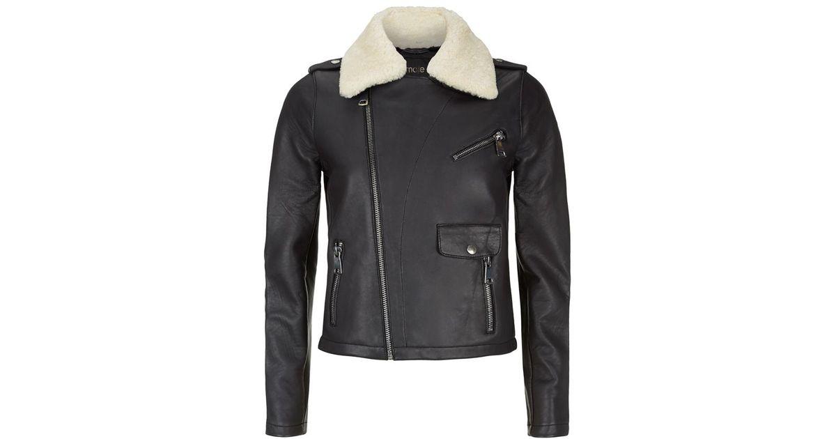 Maje Bluff Sheepskin Biker Jacket in Black | Lyst