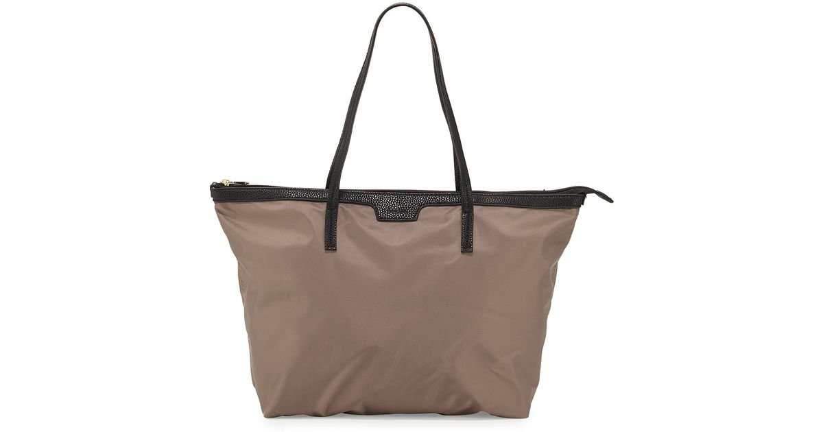Neiman marcus Miley Nylon Zip-top Tote Bag in Brown | Lyst