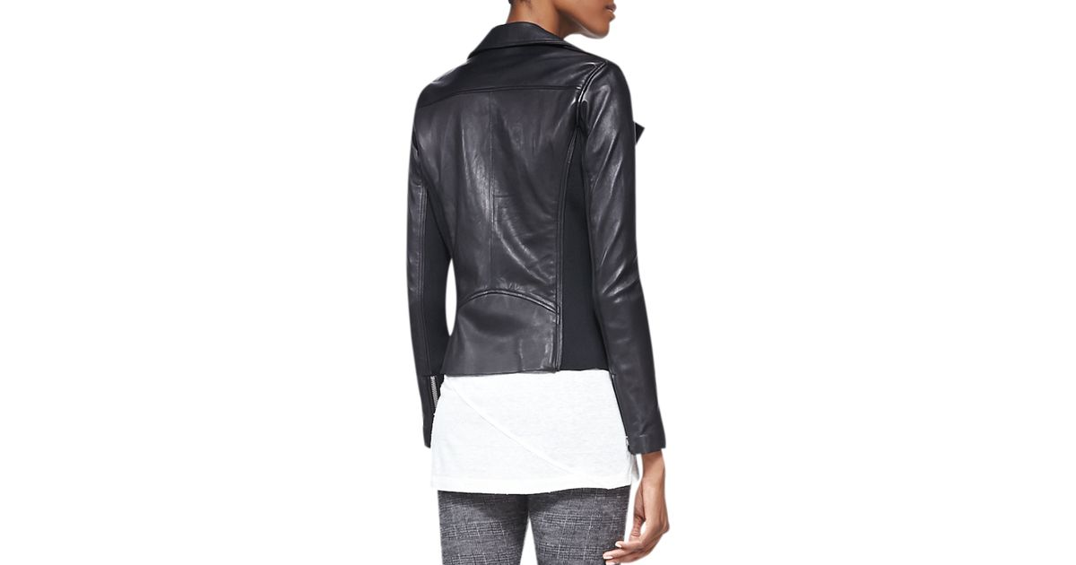 c7bf46e28ea IRO Vika Leather/knit Moto Jacket in Black - Lyst