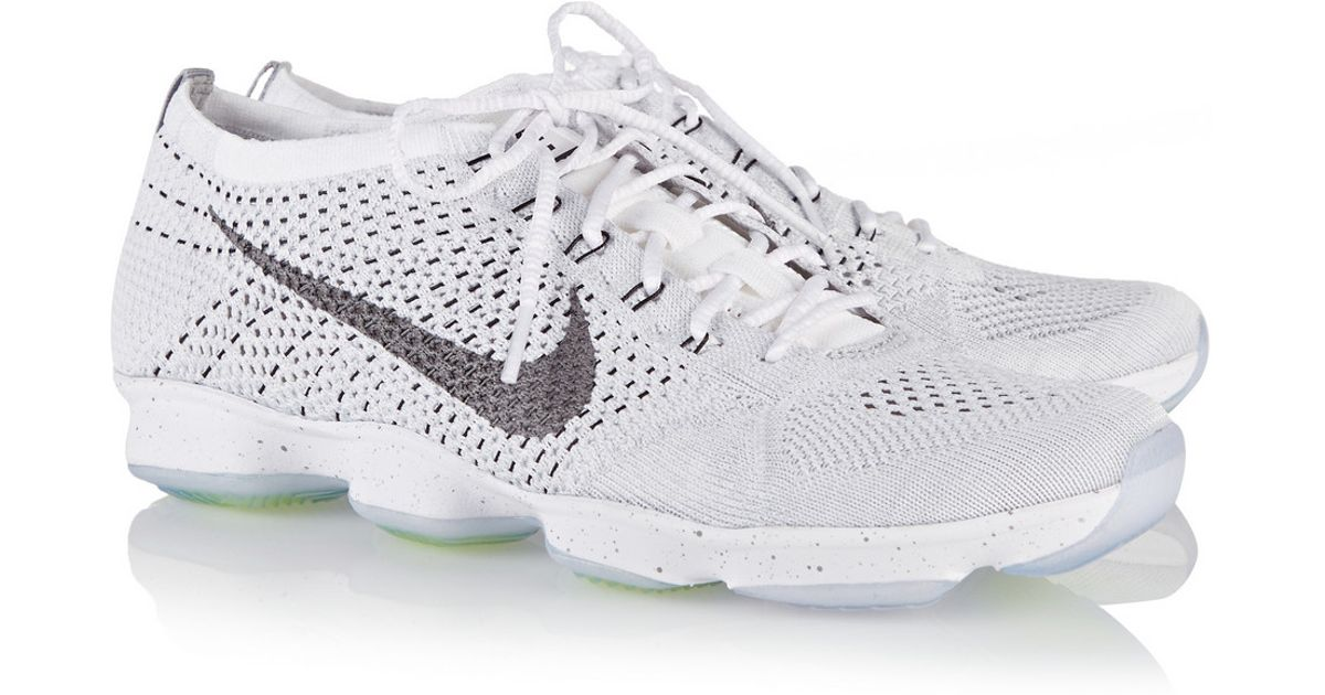 reputable site 89391 fa5a2 Nike Flyknit Zoom Agility Mesh Sneakers in White - Lyst