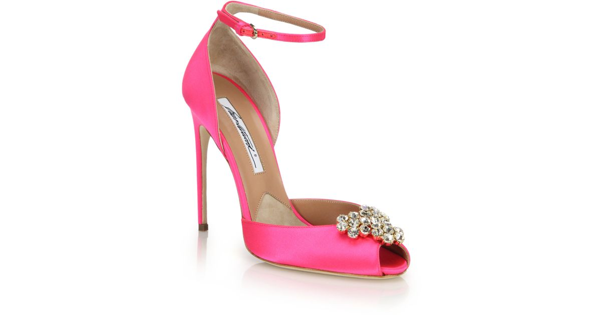 brian atwood embellished satin peep toe sandals in pink lyst