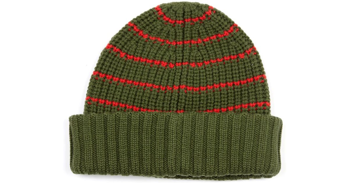 Lyst - Marc By Marc Jacobs Striped Merino-Wool Beanie in Green 6f6c87eda3ac
