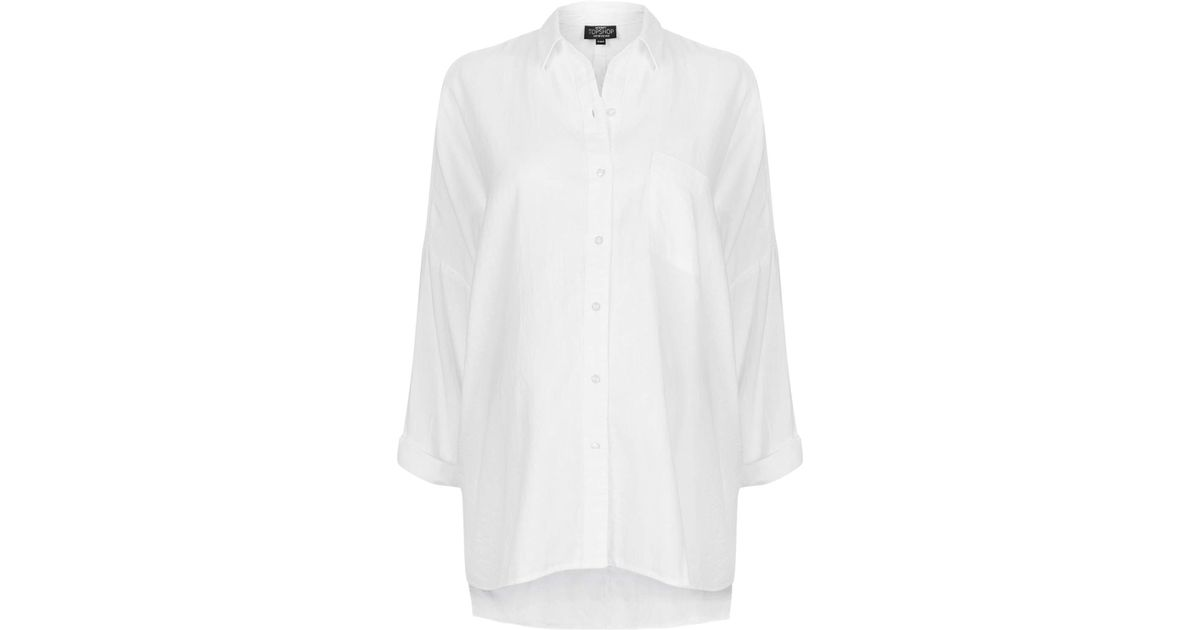 291392a9481 TOPSHOP Maternity Oversized Chambray Shirt in White - Lyst