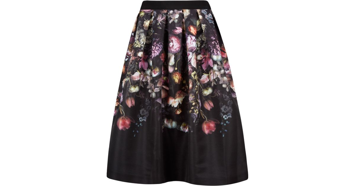 b6ffa2201 Ted Baker Brissat Shadow Floral Midi Skirt in Pink - Lyst