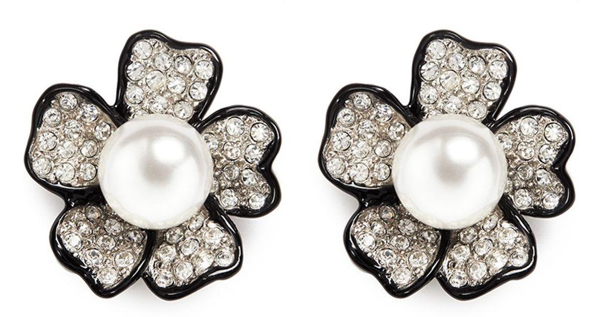 Kenneth Jay Lane Metallic Crystal Pavé Flower Stud Earrings Lyst