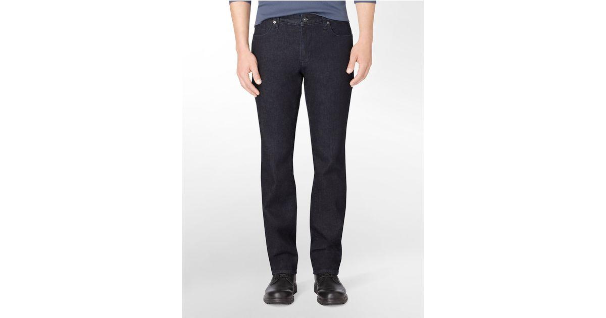 calvin klein slim straight leg indigo dark wash jeans in. Black Bedroom Furniture Sets. Home Design Ideas