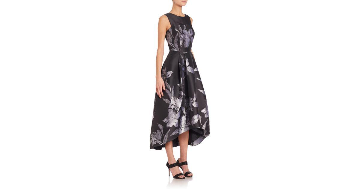 1fdb1cece6d4 Shoshanna Noir Floral Jacquard Coraline Dress in Black - Lyst