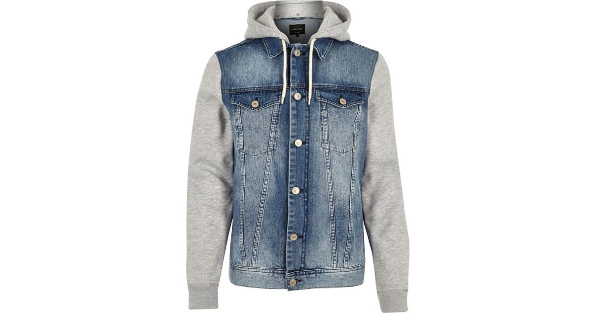 River island blue jersey hoodie denim jacket in blue for for Bear river workwear shirts