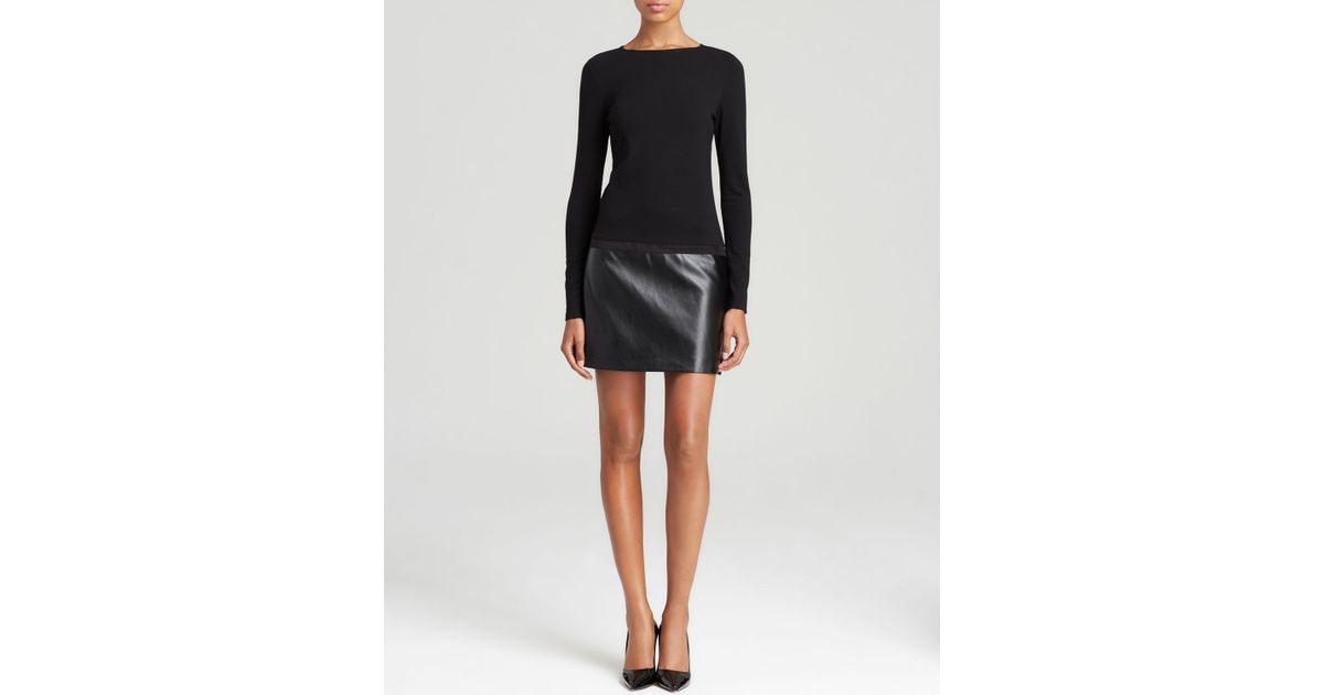 Lyst Dkny Long Sleeve Dress With Faux Leather Skirt In Black