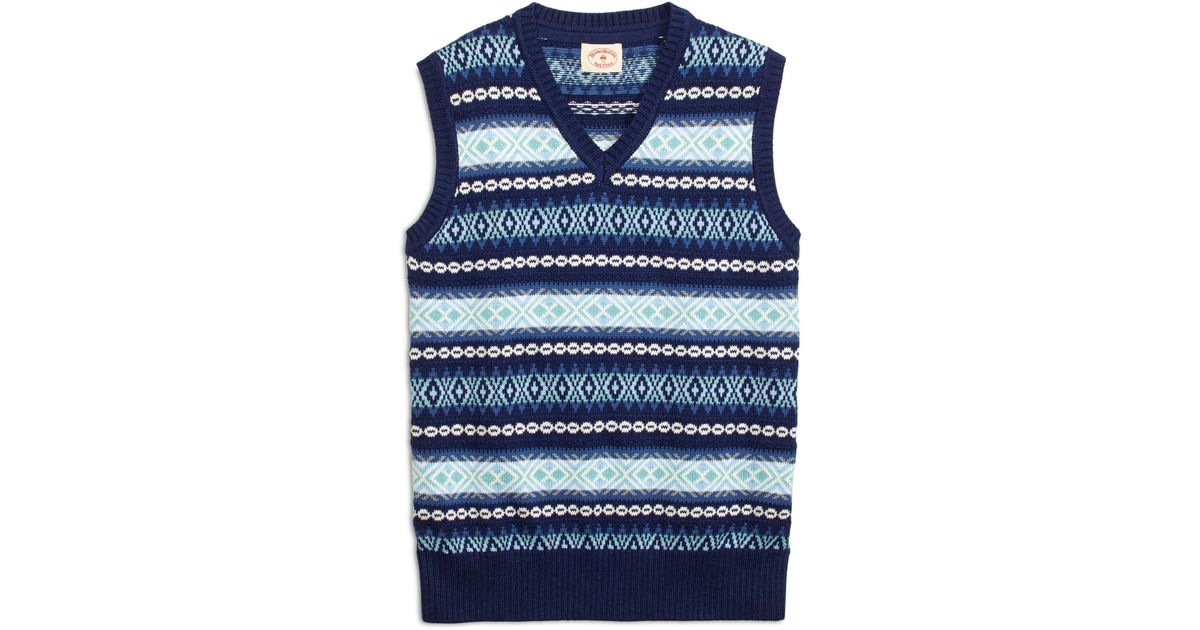 Brooks brothers Fair Isle Sweater Vest in Blue for Men | Lyst