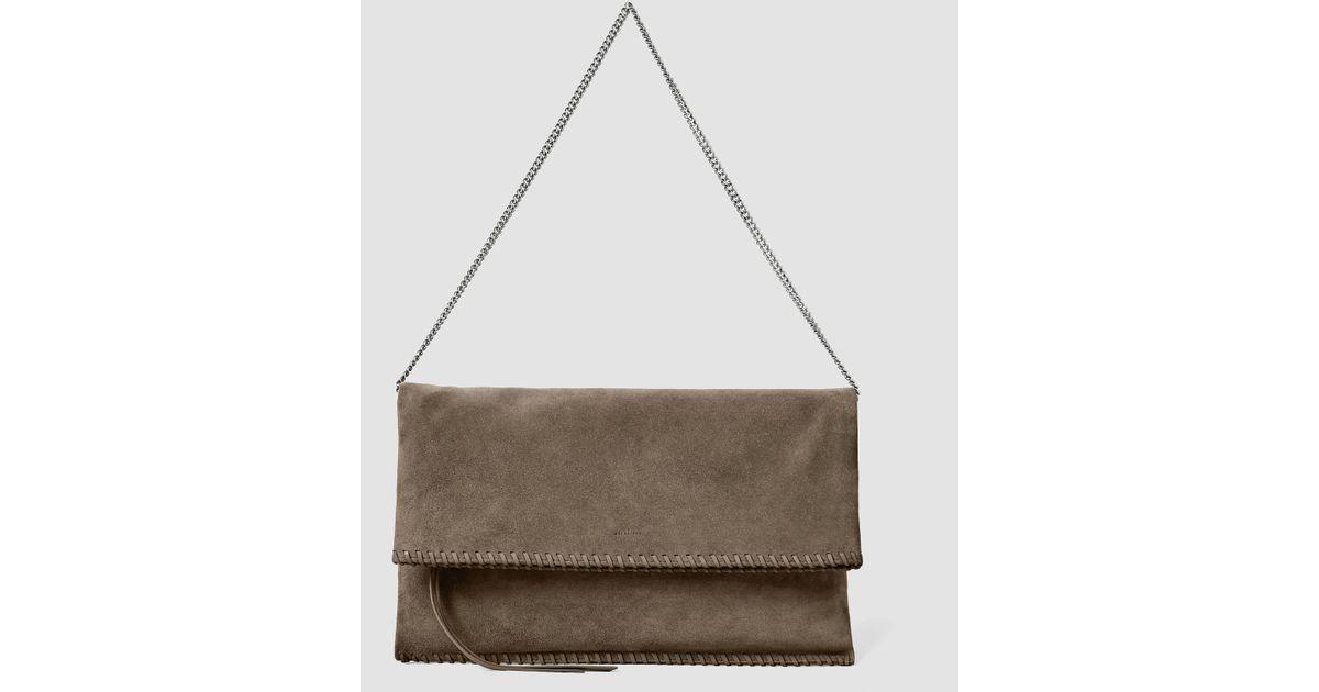 67839091e AllSaints Fleur De Lis Foldover Bag in Brown - Lyst