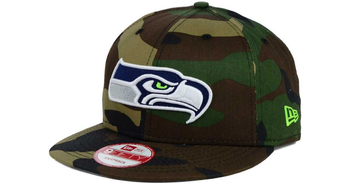 6ce04e6d5fc Lyst - KTZ Seattle Seahawks Woodland Camo Team Color 9Fifty Snapback Cap in  Green for Men