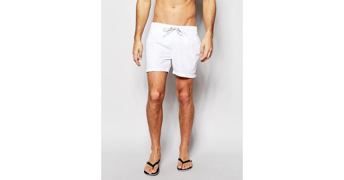 c83d4ce959 Tommy Hilfiger Flag Swim Shorts in White for Men - Lyst