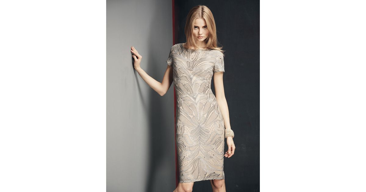 ccba804ae99 David Meister Short-sleeve Embroidered Sheath Cocktail Dress in Metallic -  Lyst