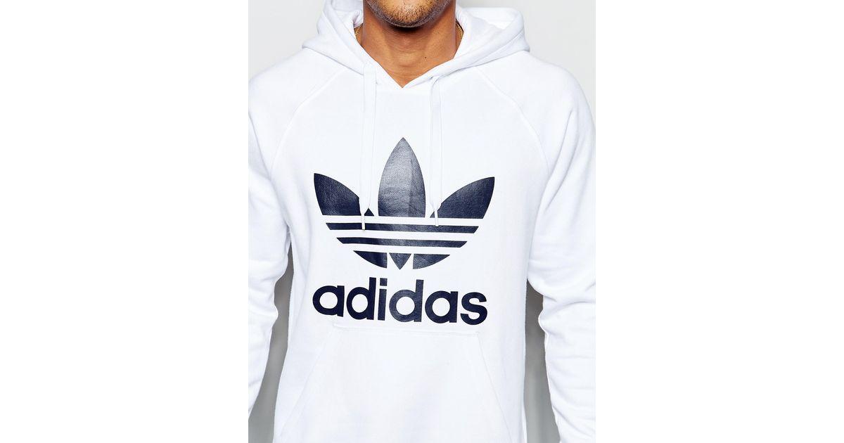 adidas originals hoodie with trefoil ap9000 in white for men lyst. Black Bedroom Furniture Sets. Home Design Ideas