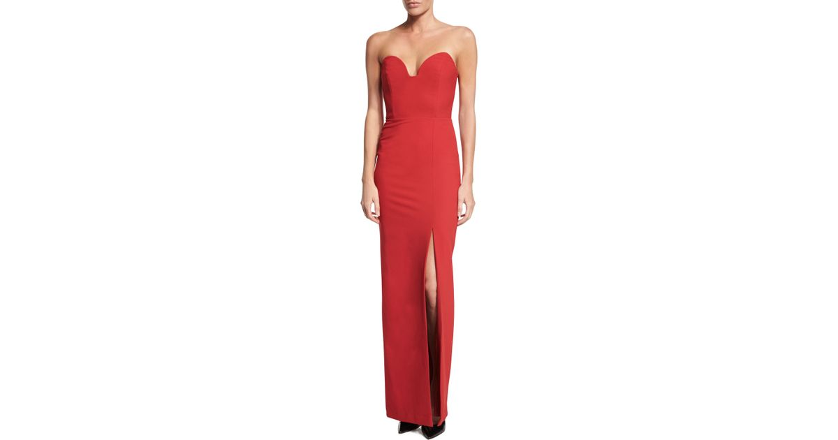 Lyst - Nicole Miller Strapless Sweetheart Column Gown With Slit in Red