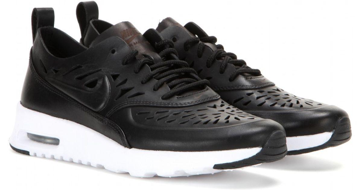 best service 27995 7a42f Nike Air Max Thea Joli Laser-Cut Leather Sneakers in Black - Lyst