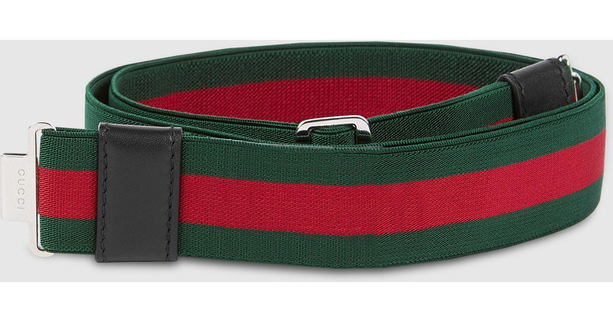 a7f64a302 Gucci Elastic Web Belt in Green for Men - Lyst