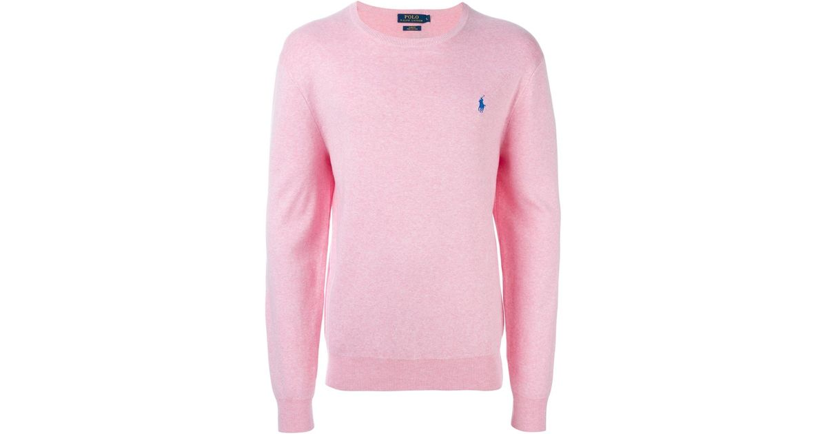 4aed3590a ... store lyst polo ralph lauren crew neck sweater in pink for men 6639c  ef635