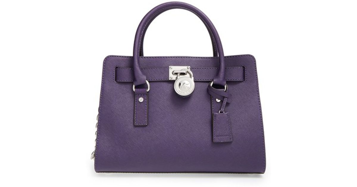 158cf9d1c6e7 Lyst - MICHAEL Michael Kors  medium Hamilton  Saffiano Leather Satchel -  Purple in Purple