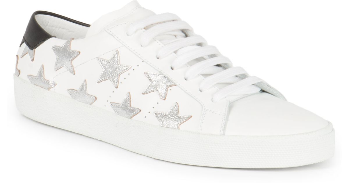 8cbc0a6b498 Saint Laurent Leather Classic Court Star Sneakers in White for Men - Lyst