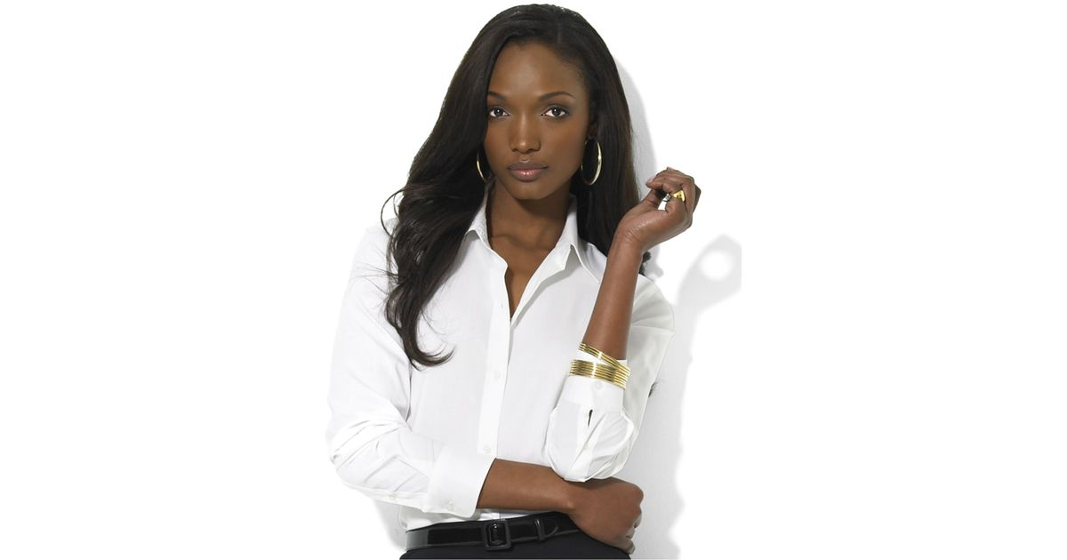 Lauren by ralph lauren long sleeve wrinkle resistant shirt in white lyst - How to unwrinkle your clothes with no iron ...