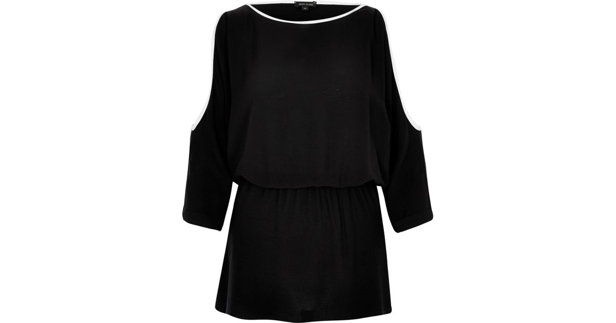 039393be84a58 River Island Black Cold Shoulder Top in Black - Lyst