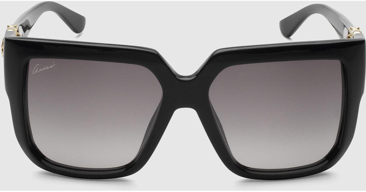 5b457a1c351 Gucci Oversized Square-frame Horsebit Sunglasses in Black - Lyst