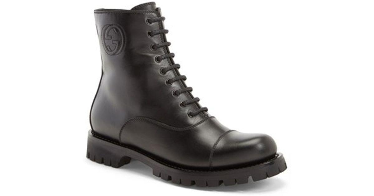 aeb3199ca Gucci 'royan' Round Toe Boot in Black - Lyst