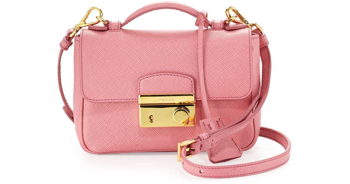 49a9f5dff0cc Lyst - Prada Saffiano Rounded Mini Sound Bag in Pink