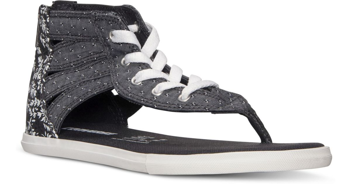 Lyst - Converse Women S Chuck Taylor Gladiator Thong Sandals From Finish  Line in Black 3607bff84